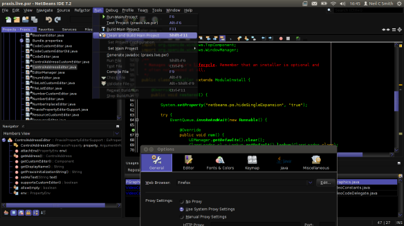 NetBeans IDE running with Praxis LIVE look & feel